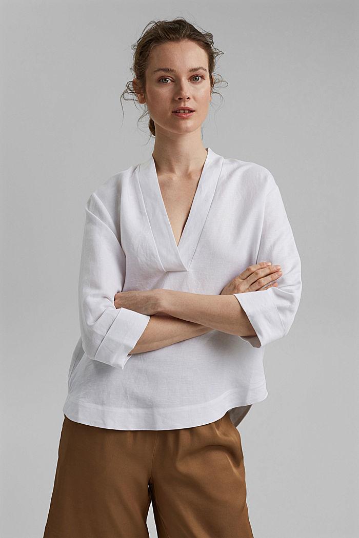 Linen blend: V-neck tunic, WHITE, detail image number 0
