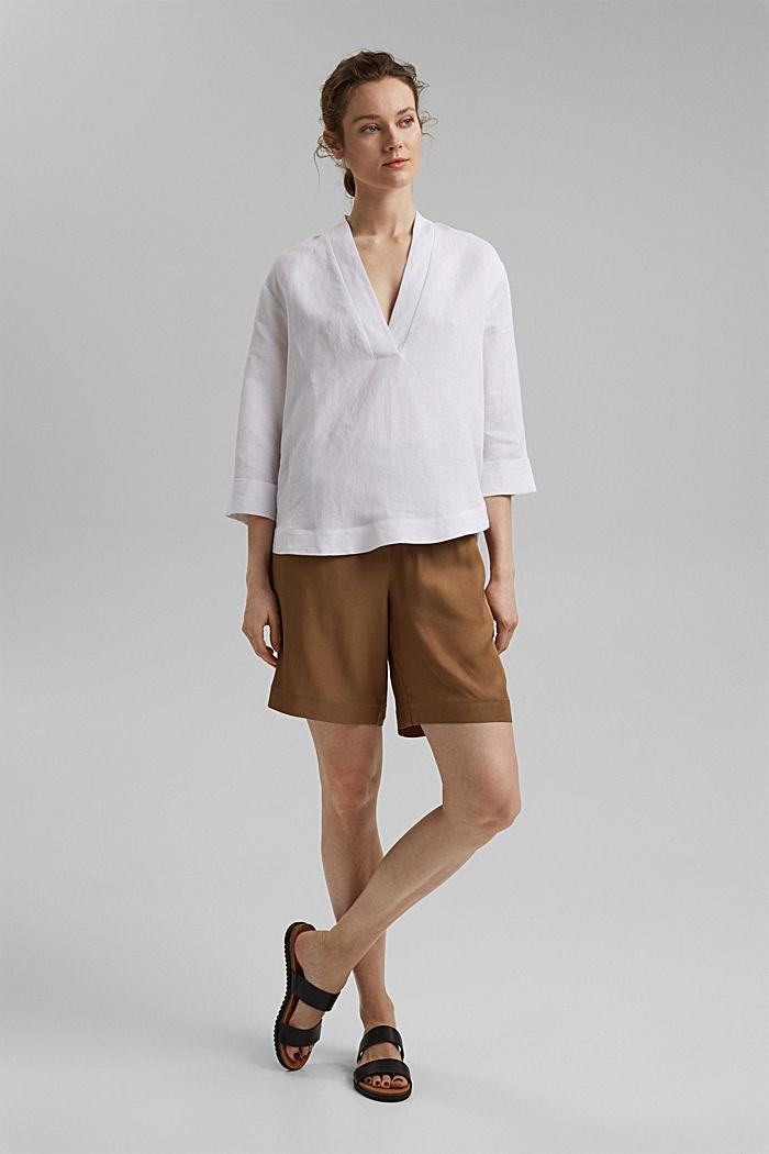 Linen blend: V-neck tunic, WHITE, detail image number 1