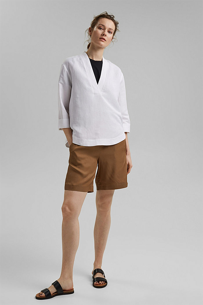 Linen blend: V-neck tunic, WHITE, detail image number 7