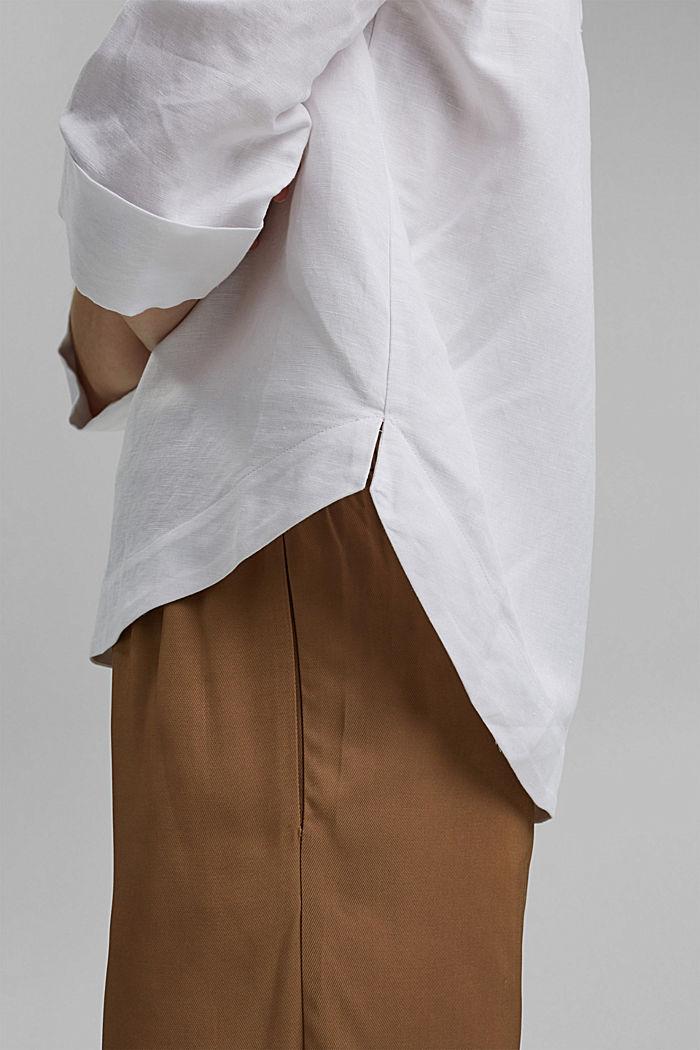 Linen blend: V-neck tunic, WHITE, detail image number 2