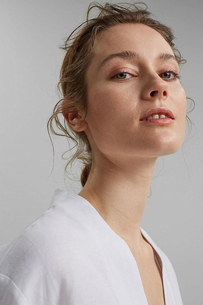Linen blend: V-neck tunic, WHITE, detail image number 6