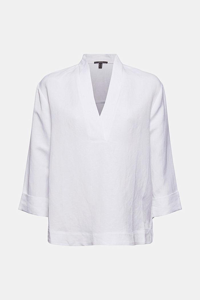 Linen blend: V-neck tunic