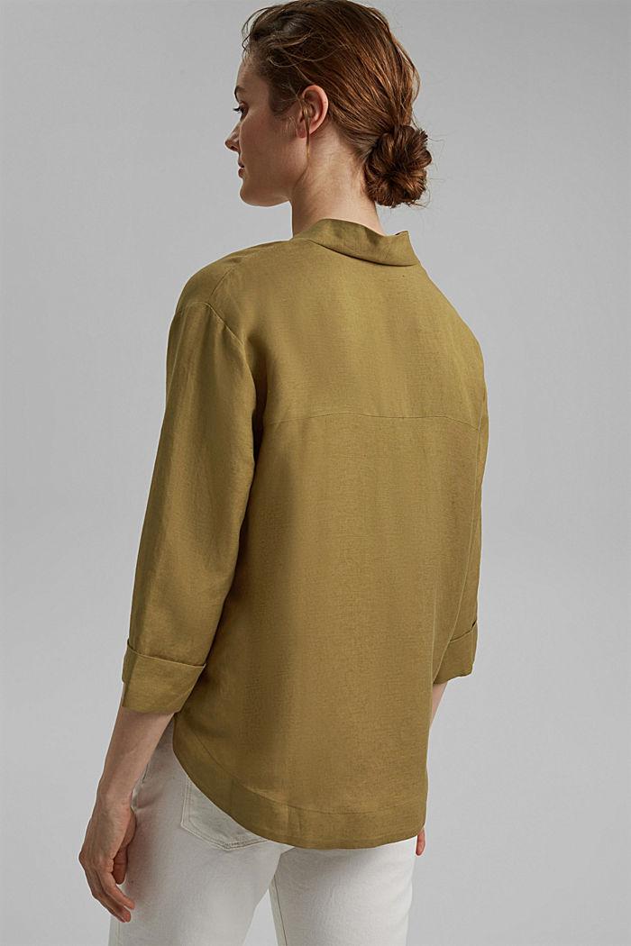 Linen blend: V-neck tunic, OLIVE, detail image number 3