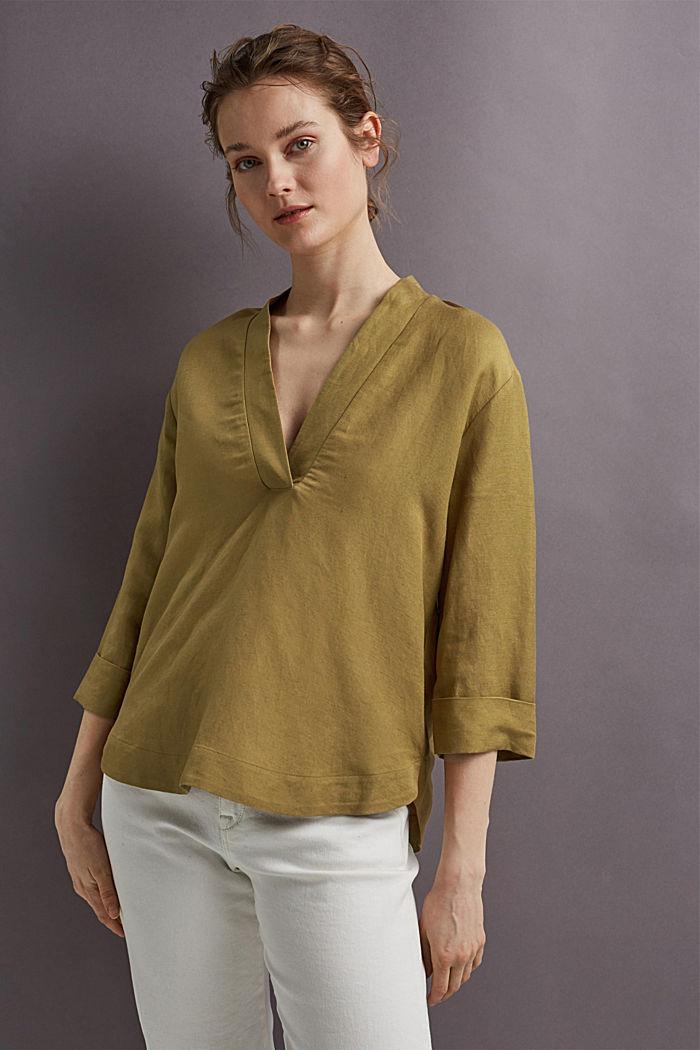 Linen blend: V-neck tunic, OLIVE, detail image number 6