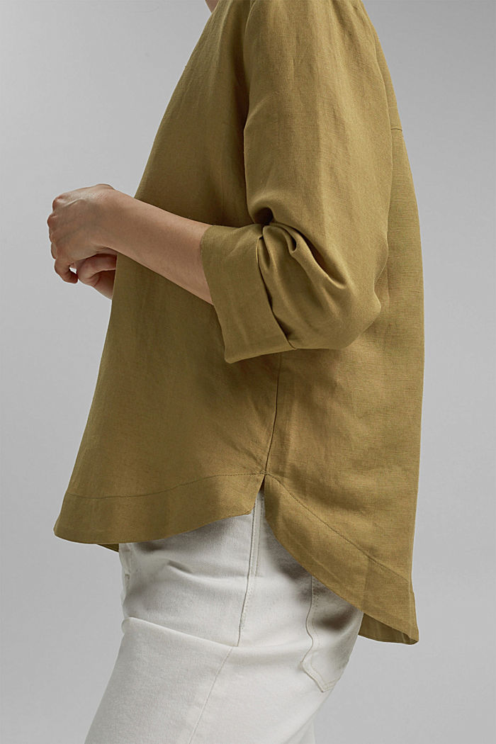 Linen blend: V-neck tunic, OLIVE, detail image number 5