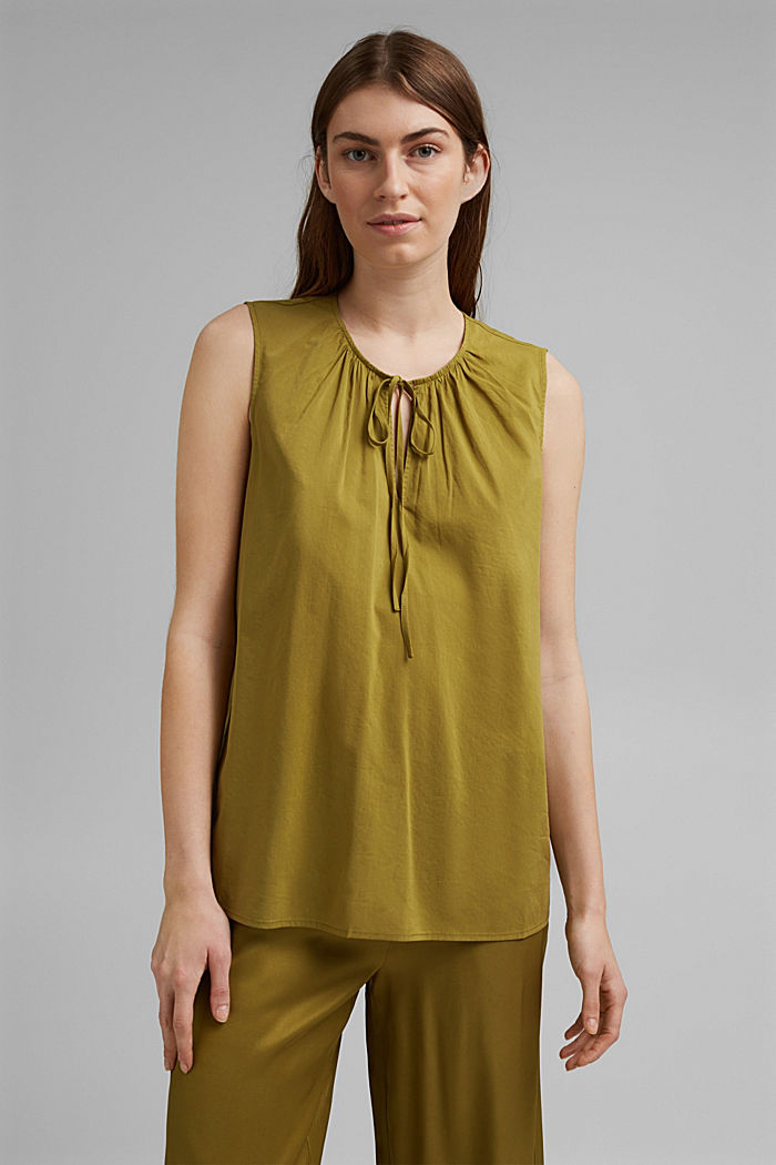 Blouse top with LENZING™ ECOVERO™, OLIVE, detail image number 0