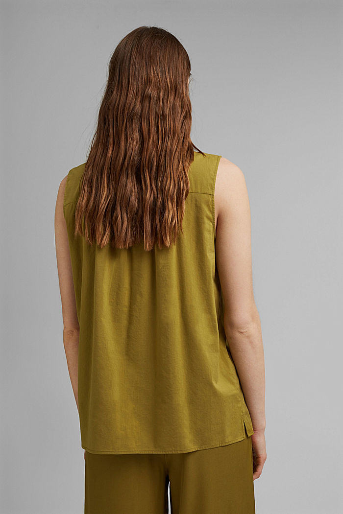 Blouse top with LENZING™ ECOVERO™, OLIVE, detail image number 3