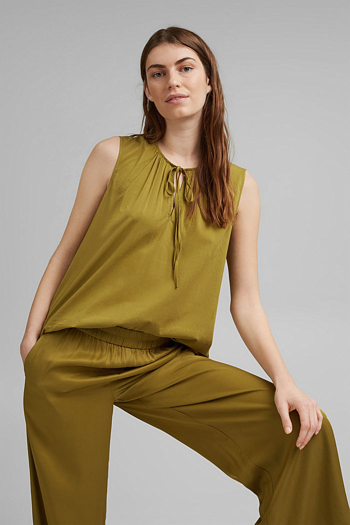 Blouse top with LENZING™ ECOVERO™, OLIVE, detail image number 5