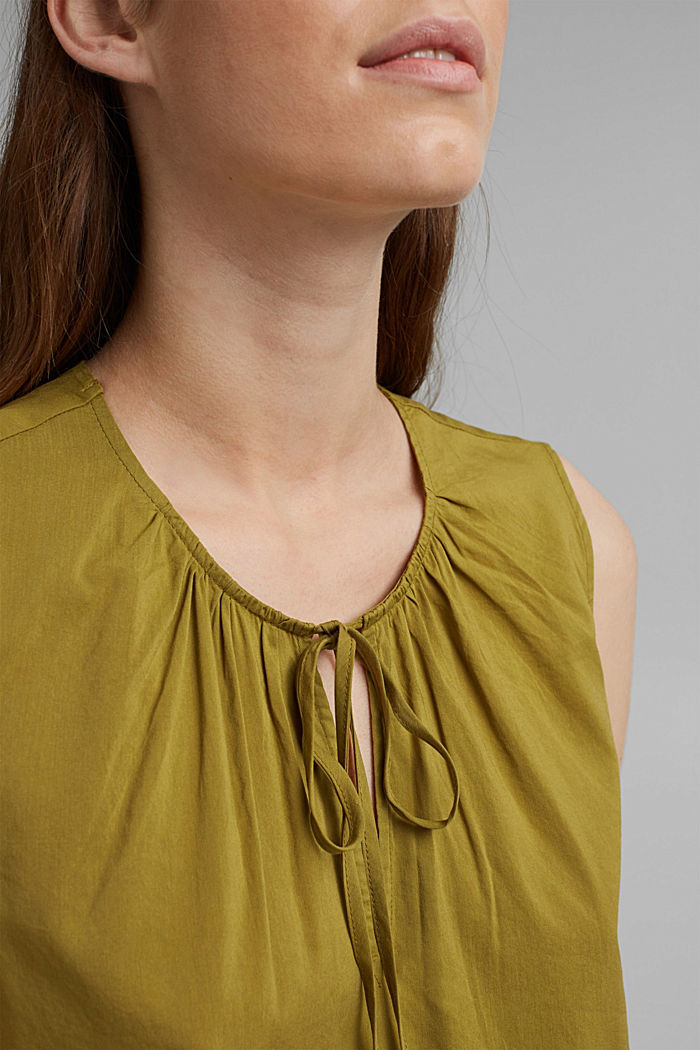 Blouse top with LENZING™ ECOVERO™, OLIVE, detail image number 2