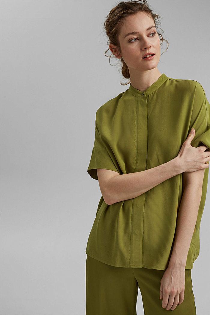 Oversized blouse with LENZING™ ECOVERO™, OLIVE, detail image number 0