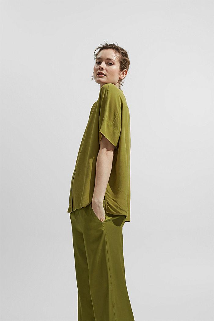 Oversized blouse with LENZING™ ECOVERO™, OLIVE, detail image number 5