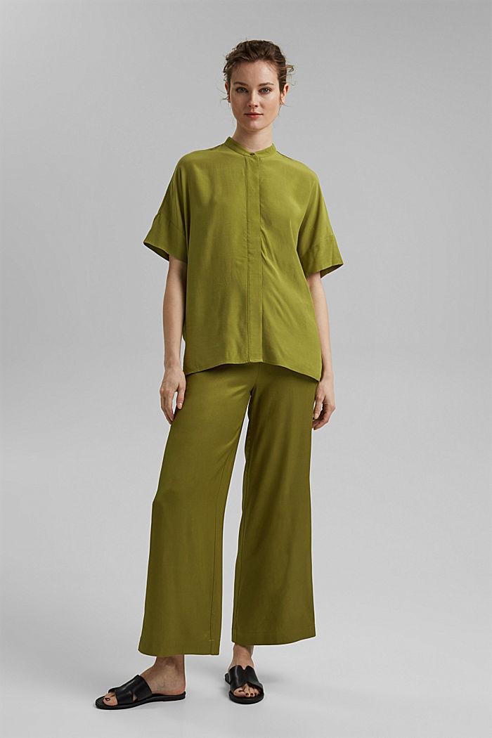 Oversized blouse with LENZING™ ECOVERO™, OLIVE, detail image number 1