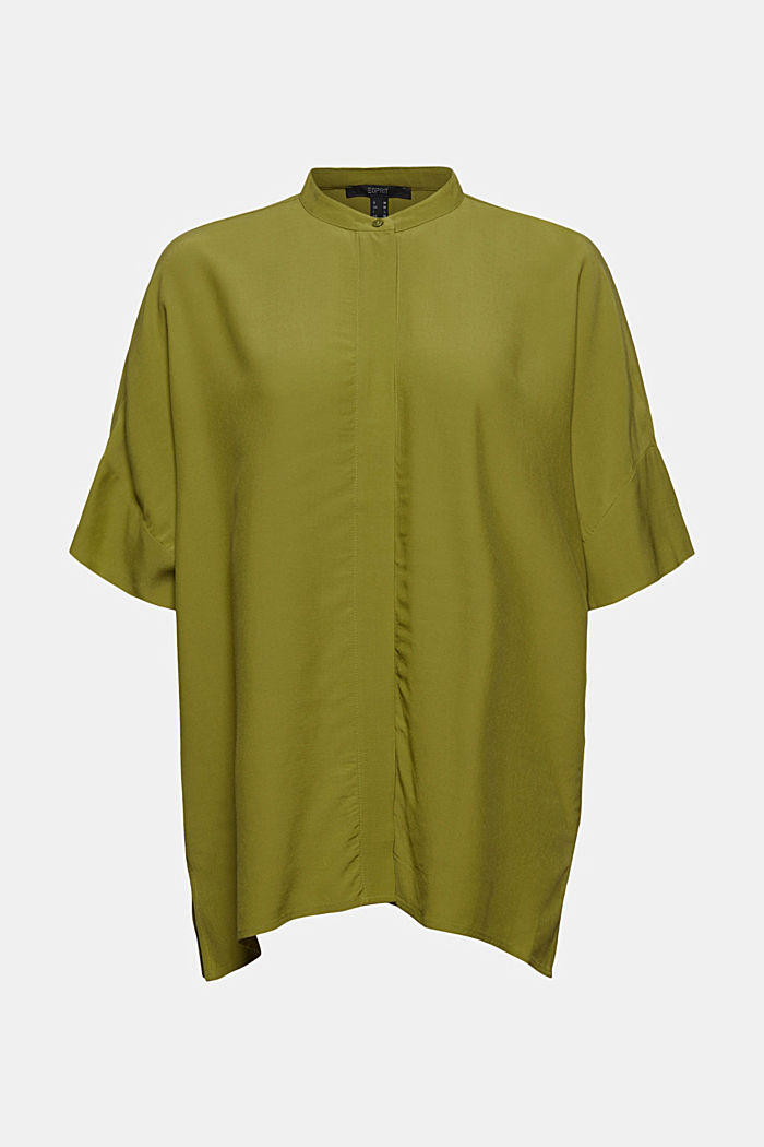 Oversized blouse with LENZING™ ECOVERO™, OLIVE, detail image number 6