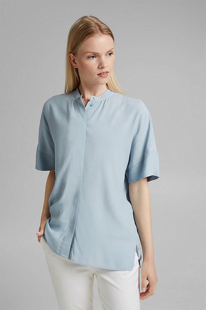 Oversized blouse with LENZING™ ECOVERO™, LIGHT BLUE, detail image number 0
