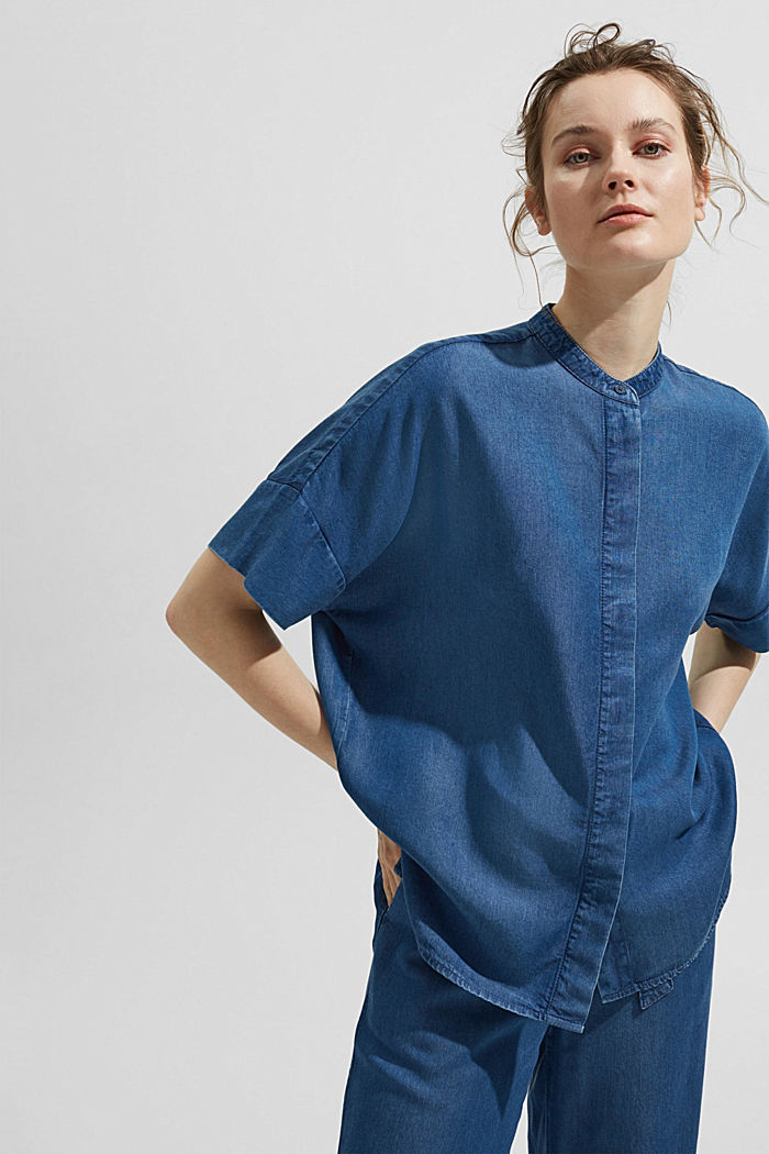 Aus TENCEL™: Bluse in Denim-Optik