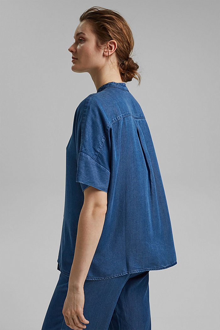 Made of TENCEL™: denim-look blouse, BLUE MEDIUM WASHED, detail image number 3