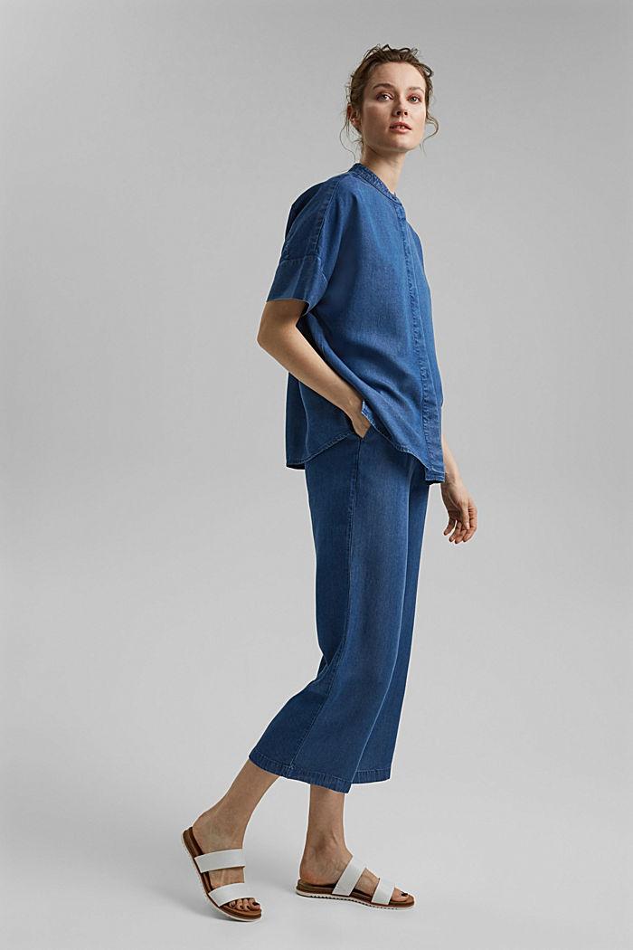 Made of TENCEL™: denim-look blouse, BLUE MEDIUM WASHED, detail image number 1