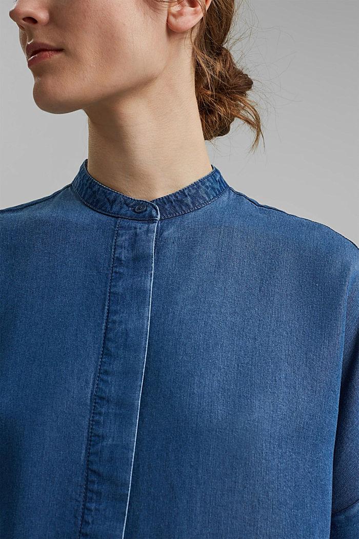 Made of TENCEL™: denim-look blouse, BLUE MEDIUM WASHED, detail image number 2