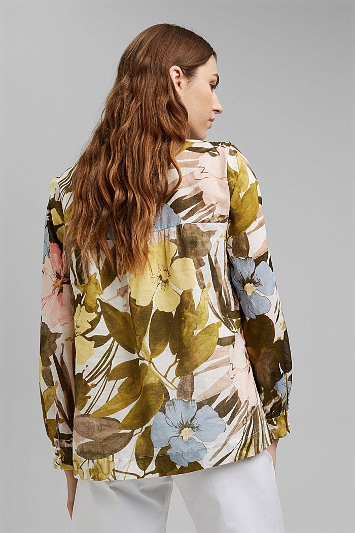 Bluse mit Print, 100% Baumwolle, OLIVE, detail image number 3