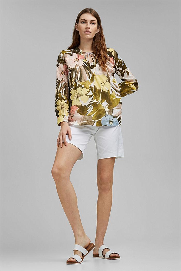Bluse mit Print, 100% Baumwolle, OLIVE, detail image number 1
