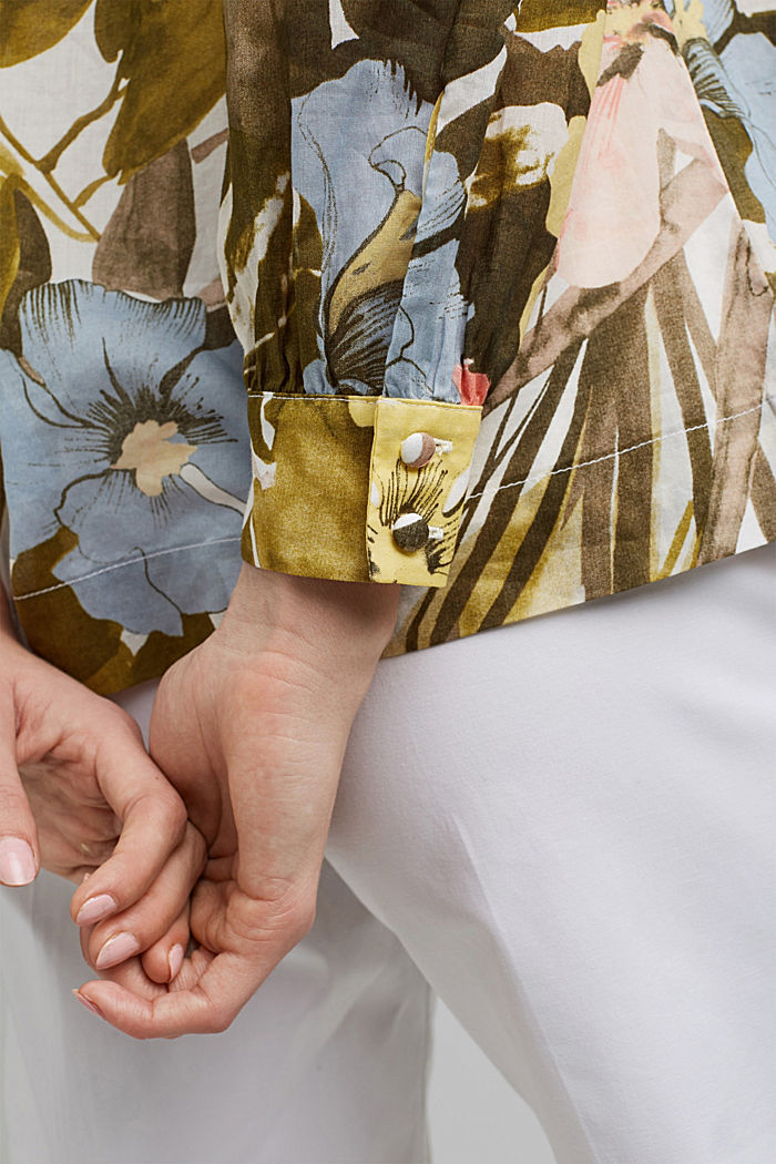 Bluse mit Print, 100% Baumwolle, OLIVE, detail image number 2