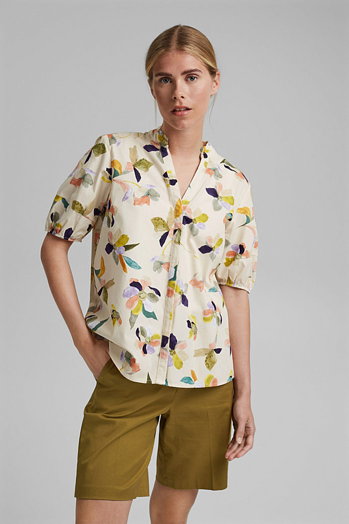 Poplin blouse with a floral print