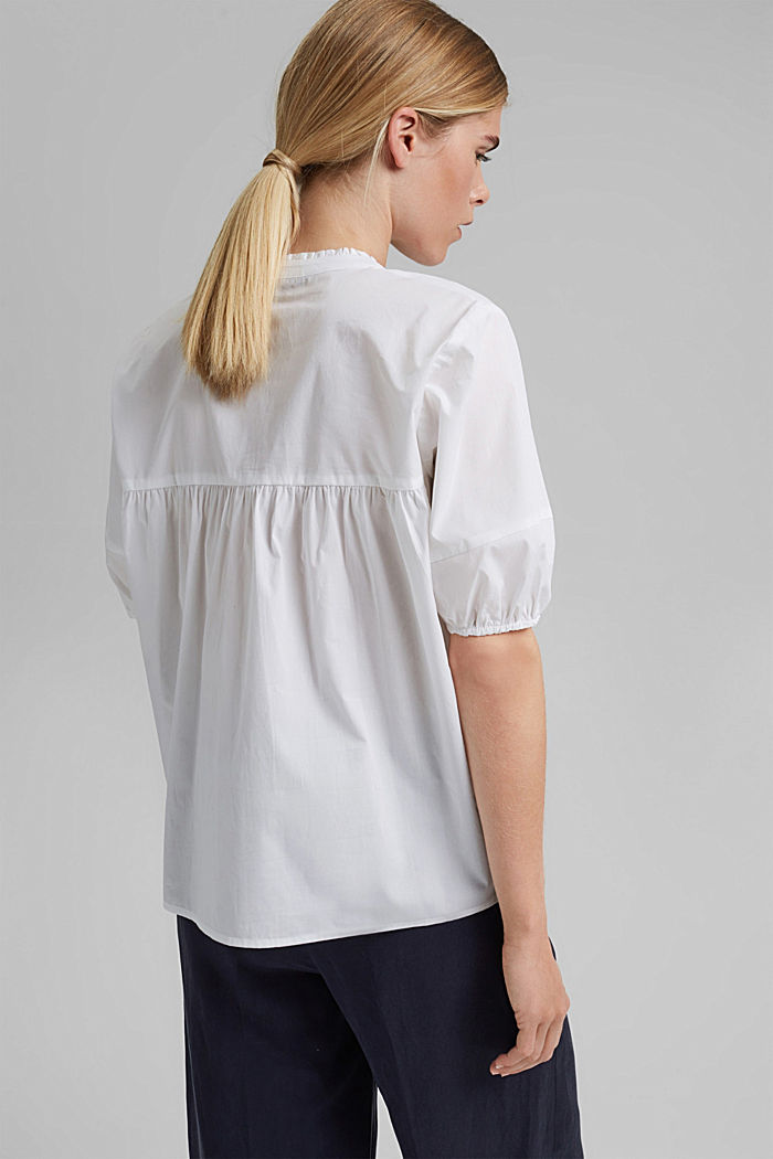 Blouse top made of stretchy poplin, WHITE, detail image number 3