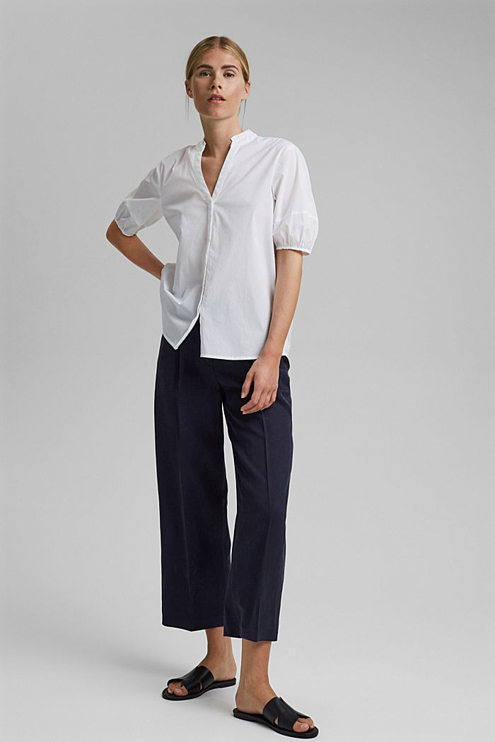 Blouse top made of stretchy poplin, WHITE, detail image number 5