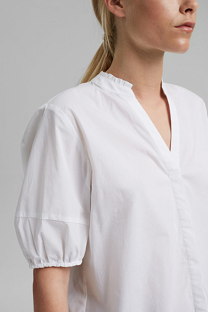 Blouse top made of stretchy poplin, WHITE, detail image number 2