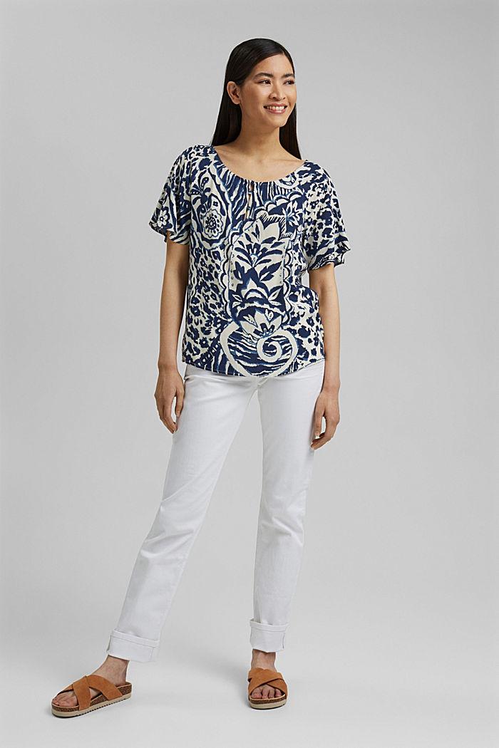 Gemusterte Bluse mit LENZING™ ECOVERO™, OFF WHITE, detail image number 1