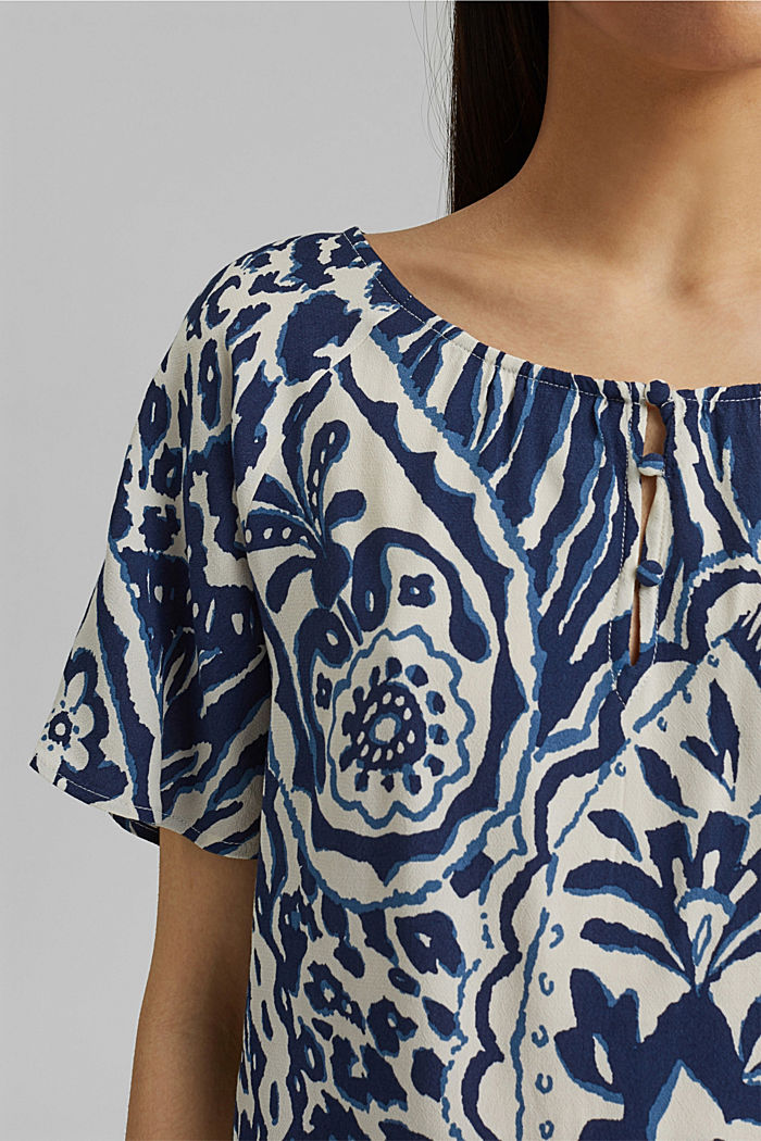 Gemusterte Bluse mit LENZING™ ECOVERO™, OFF WHITE, detail image number 2