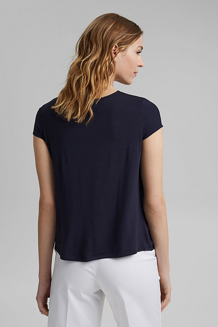 Blouse top made of flowing crêpe/jersey, NAVY, detail image number 3