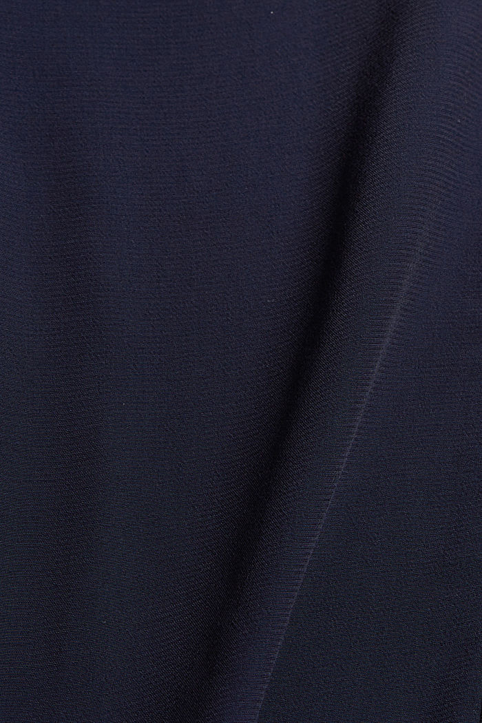 Blouse top made of flowing crêpe/jersey, NAVY, detail image number 4