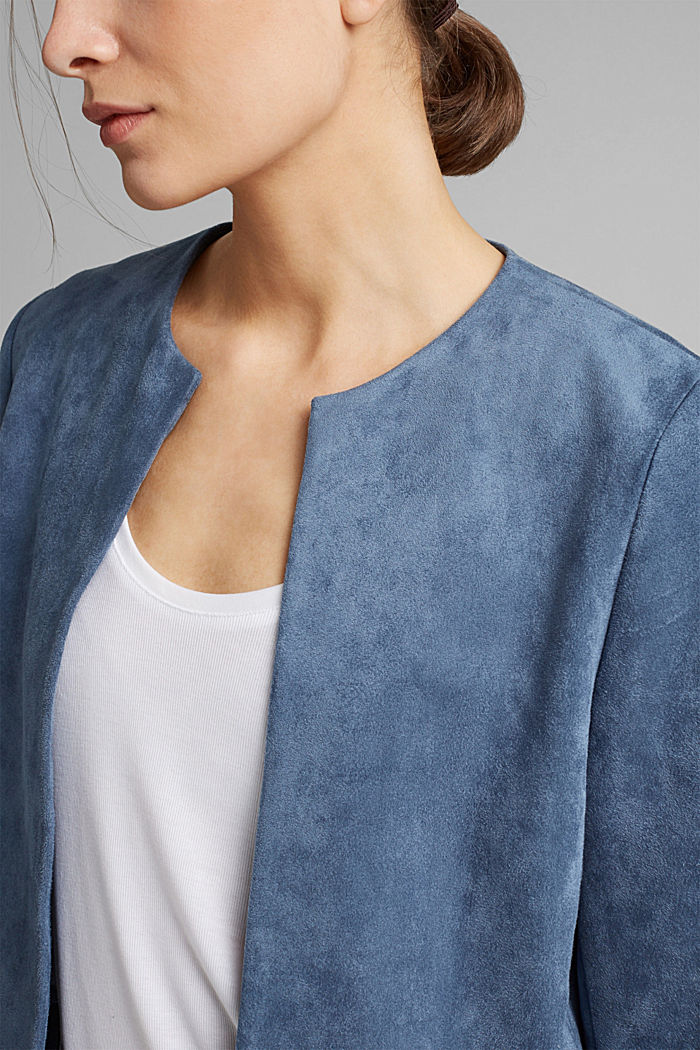 Recycelt: Blazer in Veoursleder-Optik, GREY BLUE, detail image number 2