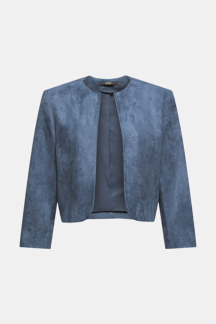 Recycelt: Blazer in Veoursleder-Optik, GREY BLUE, detail image number 5