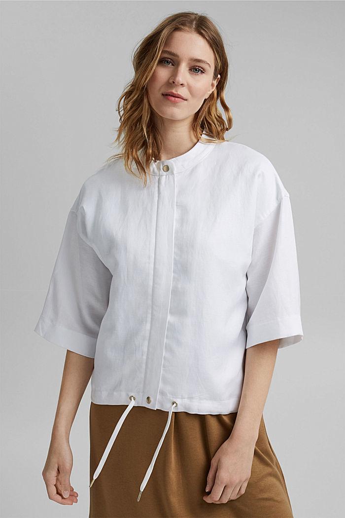 Short-sleeved bomber jacket made of a hemp/TENCEL™ blend, WHITE, detail image number 0