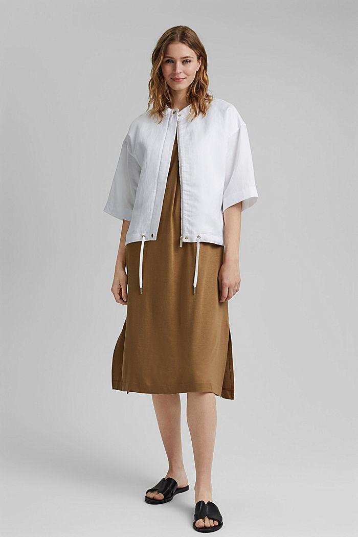 Short-sleeved bomber jacket made of a hemp/TENCEL™ blend, WHITE, detail image number 1
