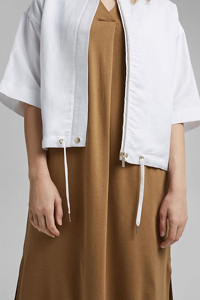 Short-sleeved bomber jacket made of a hemp/TENCEL™ blend, WHITE, detail image number 2