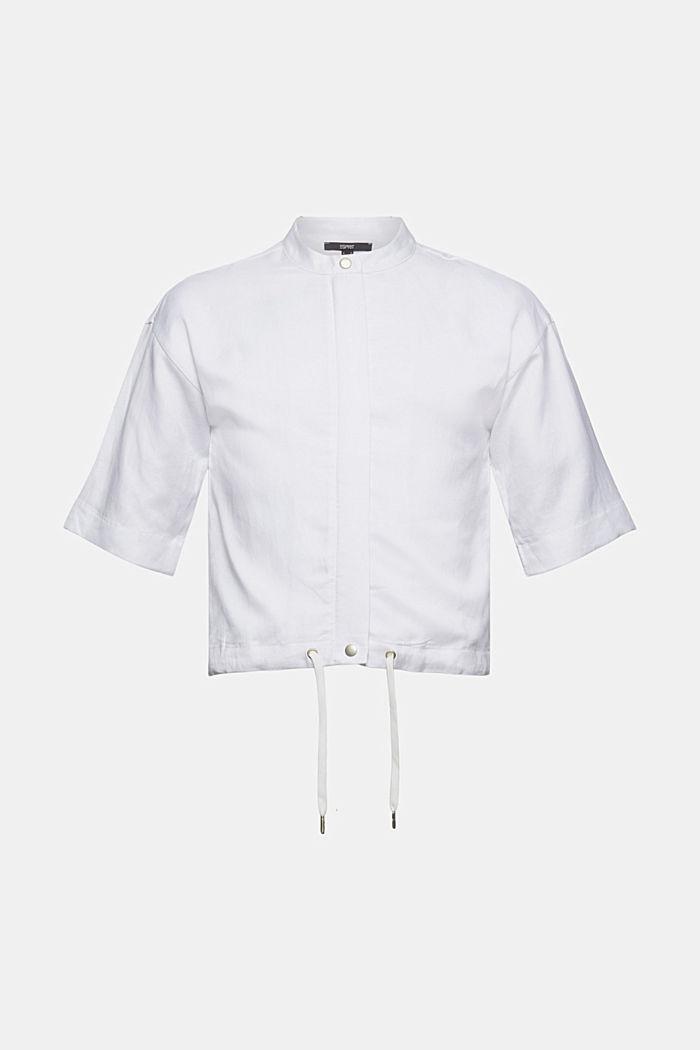 Short-sleeved bomber jacket made of a hemp/TENCEL™ blend