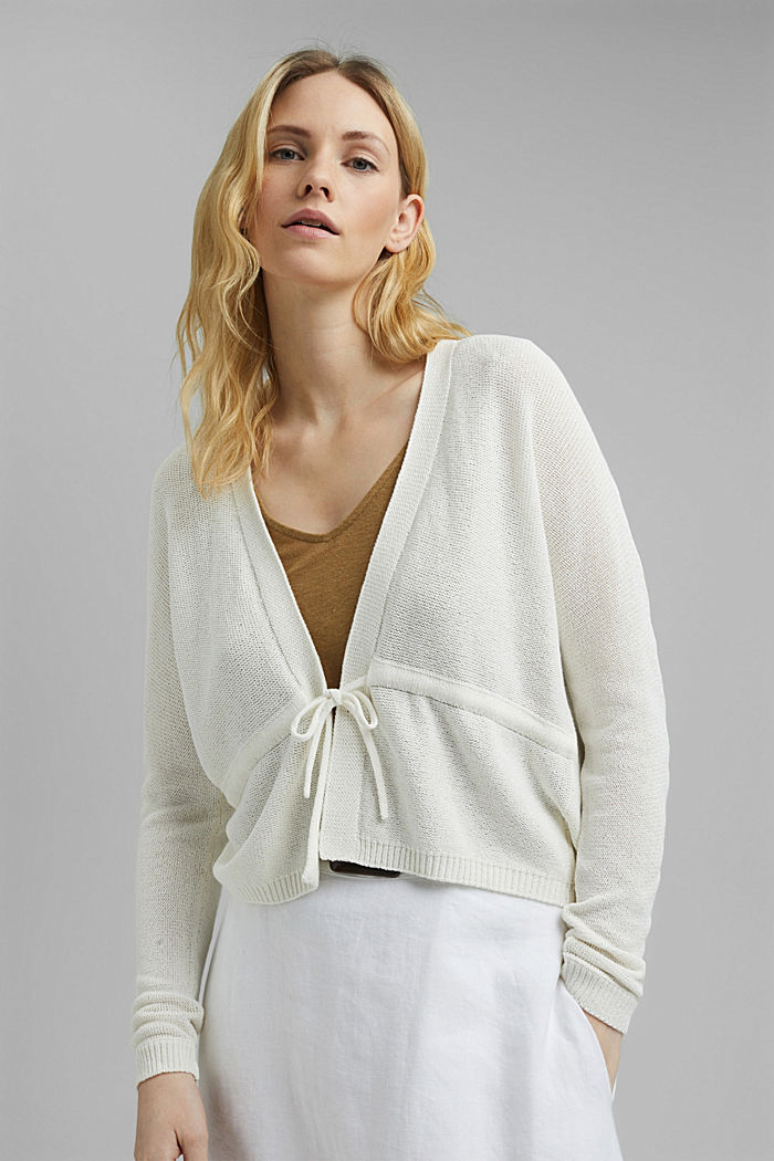 Cardigan with a drawstring, OFF WHITE, detail image number 0