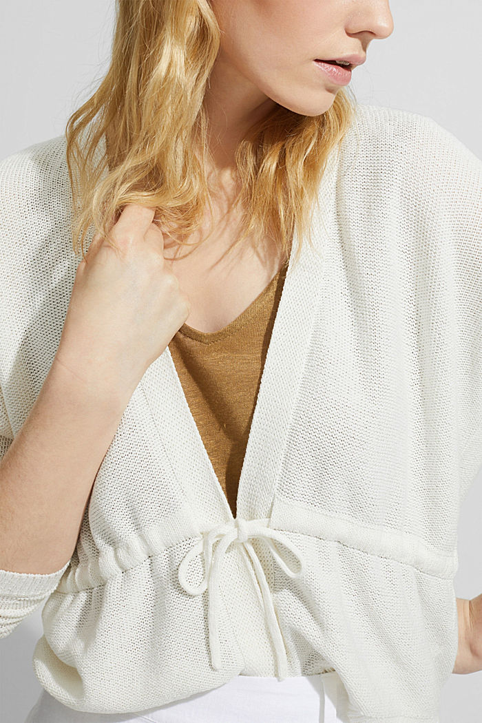 Cardigan with a drawstring, OFF WHITE, detail image number 5