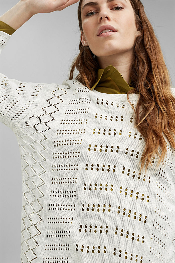 Ajour-Pullover aus Baumwoll-Mix, OFF WHITE, detail image number 0