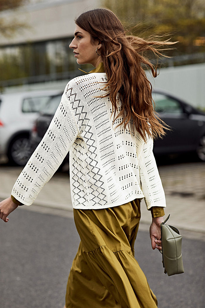 Ajour-Pullover aus Baumwoll-Mix, OFF WHITE, detail image number 3