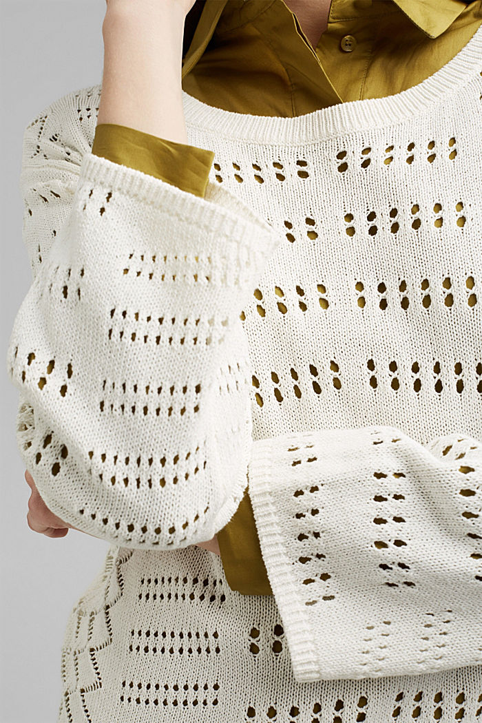 Ajour-Pullover aus Baumwoll-Mix, OFF WHITE, detail image number 2