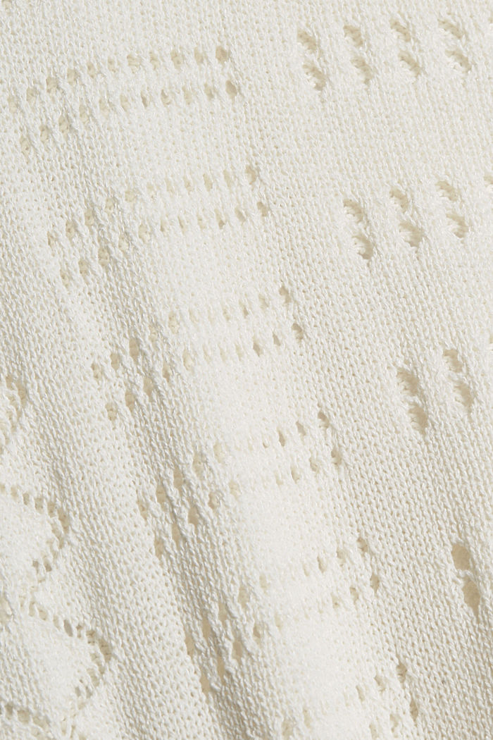 Ajour-Pullover aus Baumwoll-Mix, OFF WHITE, detail image number 4