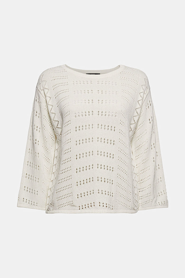 Ajour-Pullover aus Baumwoll-Mix, OFF WHITE, detail image number 5
