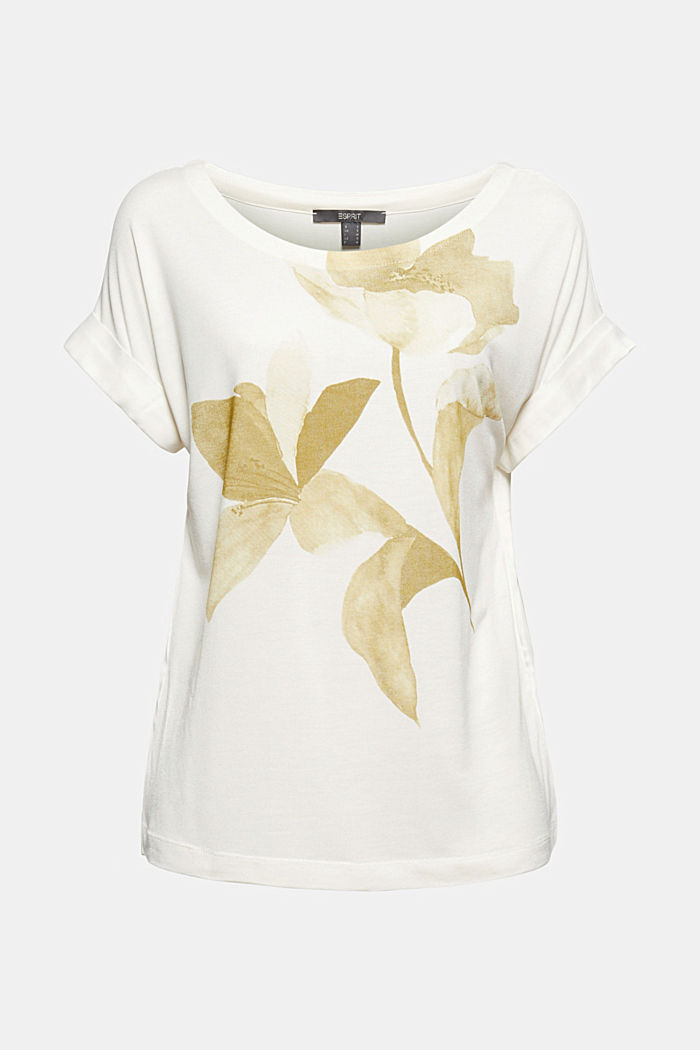 Materialmix-Shirt aus LENZING™ ECOVERO™, OFF WHITE, detail image number 2