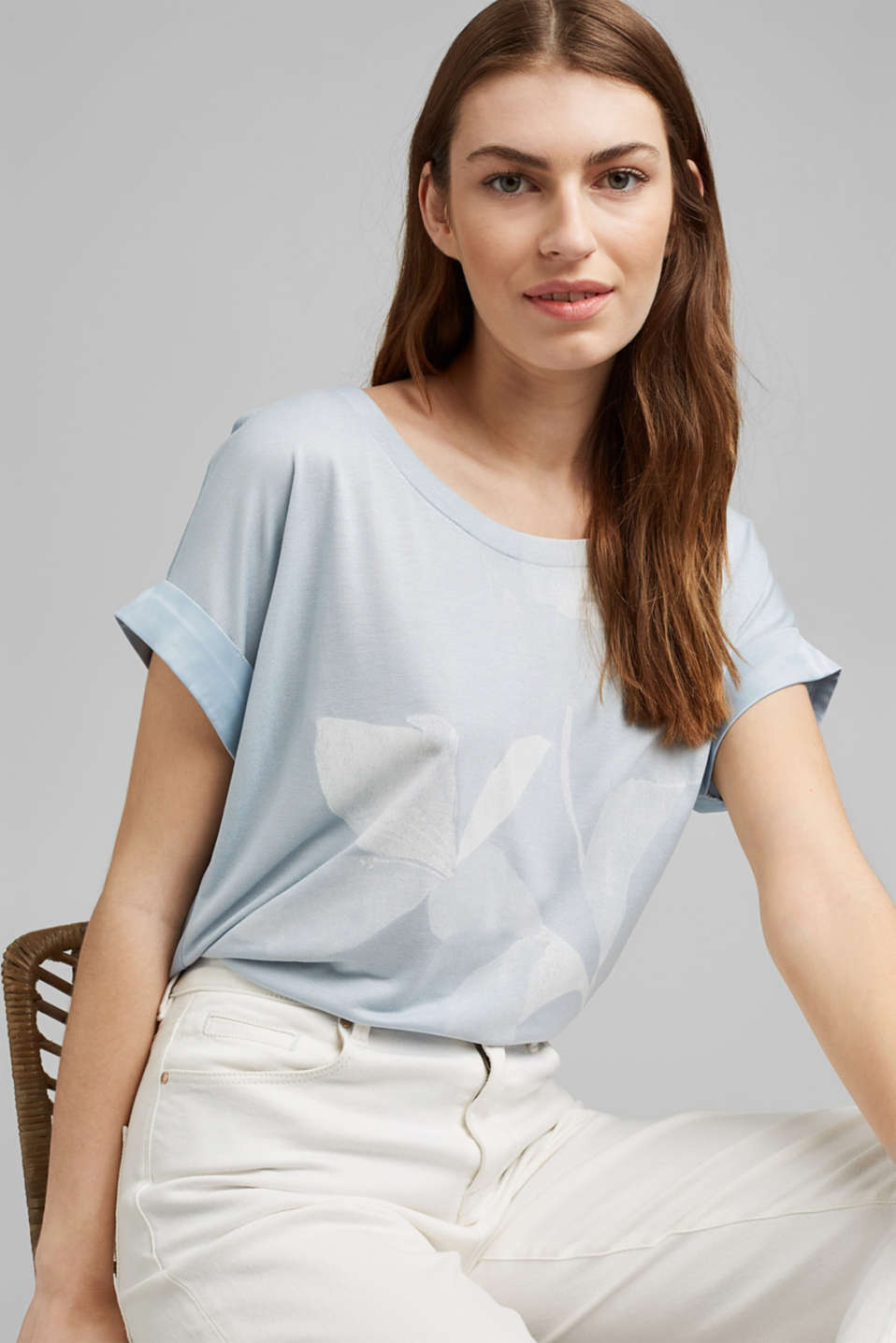 Esprit - Mixed material top made of LENZING™ ECOVERO™