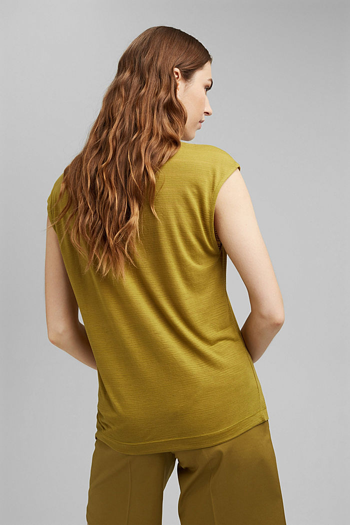 Jersey top with a burnt-out pattern, OLIVE, detail image number 3