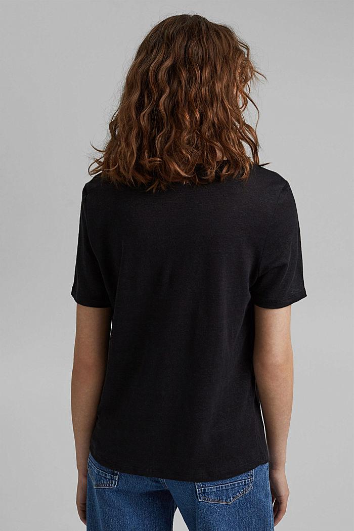 Made of linen: printed T-shirt, BLACK, detail image number 3